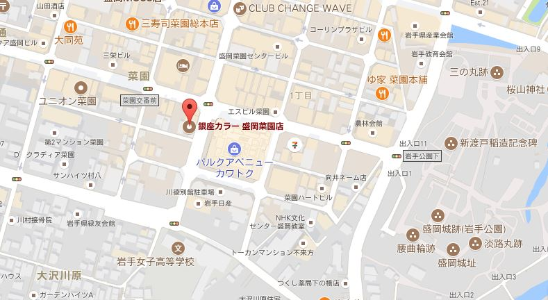 銀座カラー 盛岡菜園店 地図