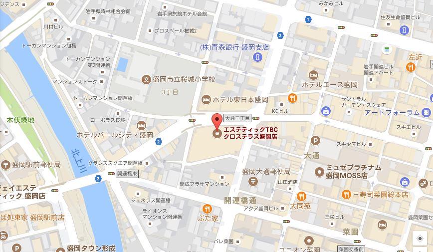 エステティックTBC クロステラス盛岡店の地図