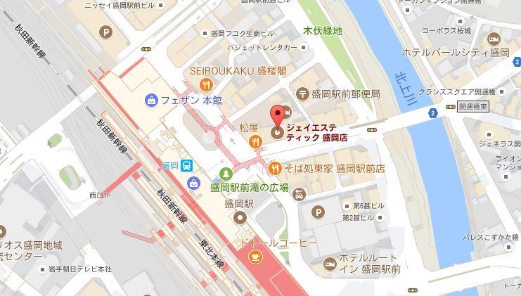 ジェイエステティック 盛岡店 地図