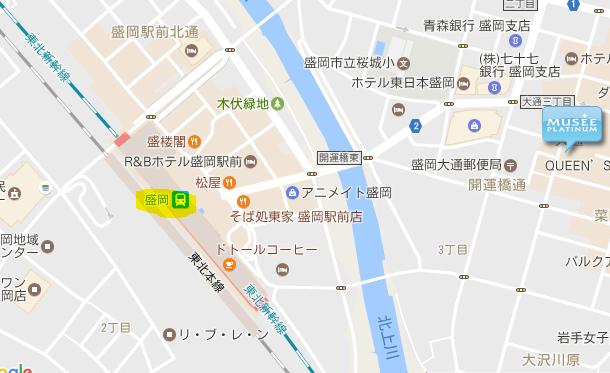 盛岡駅からミュゼまでの地図